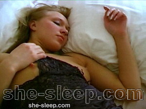 Voyeur scene with a sexy blonde sleeping chick